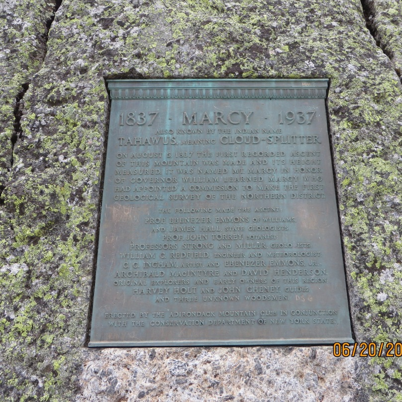 plaque at the summit