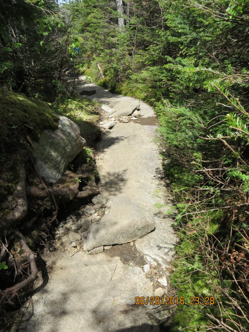 The granite sidewalk
